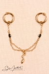 Anneaux intimes Serpents cristal - or : Paire d'anneaux intimes avec drapé de chaînes et cristaux, et pendentif serpent miniature.